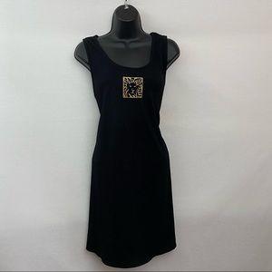 Anne Klein Black Sleeveless MIDI Dress Size L A-7